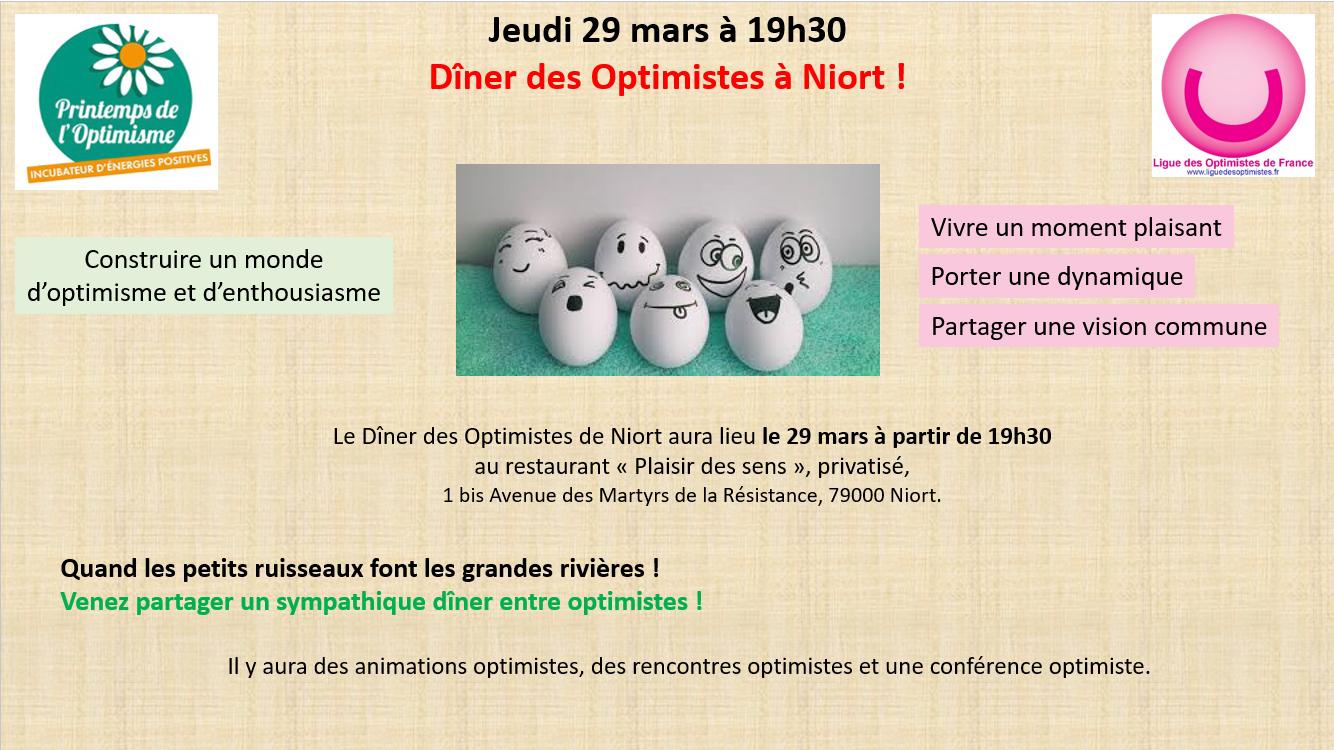 Restaurant Le Plaisir Des Sens Niort dîner des optimistes de niort - jeudi 29 mars 2018